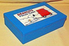 SNOOPY PENCIL BOX EMPIRE PLASTIC WOODSTOCK PEANUTS CARTOON USED BLUE HINGED LID #EmpirePencilCorporation