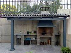 Resultado de imagen de paelleros de obra modernos Kitchen Room Design, Outdoor Kitchen Design, Patio Design, Barbacoa Jardin, Built In Braai, Outdoor Grill Station, Beautiful Kitchens, Backyard Patio, Pergola