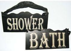 Bath & Shower Old Vintage Antique Look Wood Sign Set of 2 with Cloth Hanger Bath Sign, Wooden Bath, Decorative Signs, Bath Shower, Clothes Hanger, Wood Signs, Vintage Antiques, Christmas Decorations, Amazon
