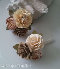 Paper Flower Boutonniere  Buttonhole  by morepaperthanshoes