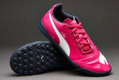 Junior Puma Football Boots - Puma evoPOWER 4 Tricks Kids TF - Astro Turf - Kids Soccer Cleats - Beetroot Purple-Bluebird White