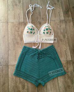 Super Knitting Projects Sweaters Cardigans Free Crochet 56 Ideas Source by Ideas boho Crochet Summer Tops, Crochet Bikini Top, Crochet Shorts, Diy Crochet Clothes, Diy Shorts, Diy Clothes, Pull Crochet, Crochet Lace, Crochet Style