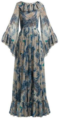 Luisa Beccaria Floral Print Ruffled Georgette Gown - Womens - Blue Print Source by karanful dress Indian Fashion Dresses, Abaya Fashion, Muslim Fashion, Fashion Outfits, Indian Fashion Trends, African Fashion, Womens Fashion, Stylish Dress Designs, Stylish Dresses