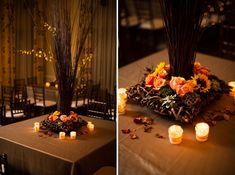 Elegant brown and orange centerpieces- great for a Fall wedding! // photo by Graham Terhune Photography!