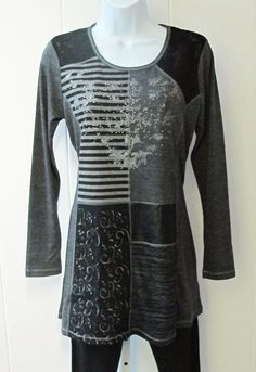 Variations Patch Tunic - Perfect with a pair of leggings or a pencil skirt.  Patch tunic features a variety of finishes…lace, knit, embroidery, faux leather…  Slimming stitch detail.  80% Viscose/12% Polyester/8% Elastane.  Sizes S-XXL.  Available in gray. - $74
