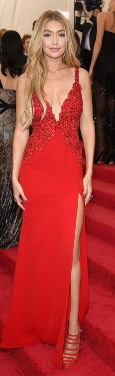 Who made Gigi Hadid's red gown and pumps?