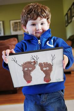 When I went to pick Luke up on hislast day of school, he came walking out with this hand print Christmas tree. It almost brought tears to my eyes, I loved it so much! Then I saw these reindeer f...