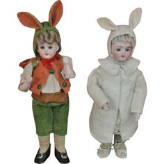 Antique Candy Container - Little Boy in Spring Suit and Bunny Ears, 1900, Original