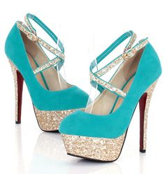 Fabulous Turquoise Strappy High Heel Shoes
