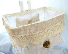 Vintage Bicycle Basket with Hand made Shabby Liner - Crochet - Czech Glass Buttons - Cottage Chic Country Wedding