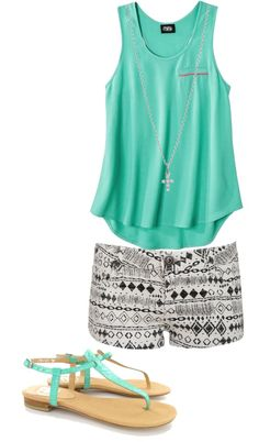 tribal print shorts, plain tank.