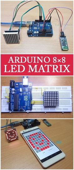 n this project, we will learn about LED Matrix Displays and two different projects on Arduino 8×8 LED Matrix Interface. The first project will be a simple interface between Arduino and 8X8 LED Matrix to display information (even scrolling information and images can be displayed) and the second project will be an advanced project where the 8×8 LED Matrix is controlled through an Android device.