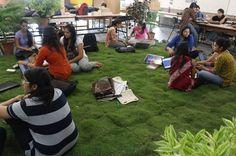 Grass lawn brought indoor, CEPT University