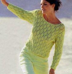Lavori a maglia, confeziona una maglia verde a punto ajour FREE