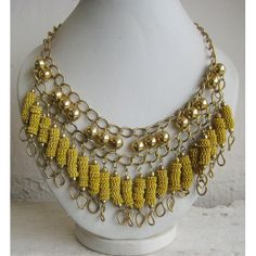 Hey, I found this really awesome Etsy listing at https://www.etsy.com/listing/189827582/yellow-necklacestatement