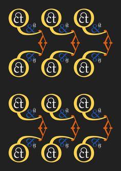 """Fournier - Pierre Simon Fournier le jeune - 1742. Pattern 3 (COLORE):""""Elaborato"""": Q ct & st y, Fournier regular. Ho scelto dei colori accesi per le lettere e un grigio scuro per lo sfondo per enfatizzare le forme complesse e la leggibilità dei caratteri più piccoli."""