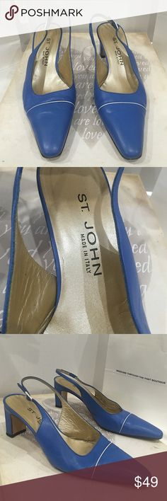 ST. JOHN blue sling back heel ST. JOHN BLUE Sling back with white piping across. Great to bundle with 3 others. Made in Italy. St. John Shoes Heels