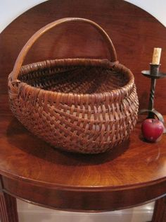 Antique 1800s N. E. Folk Art HUGE Black Ash Woven Splint Gathering Basket AAFA #Americana For Sale North Bayshore Antiques