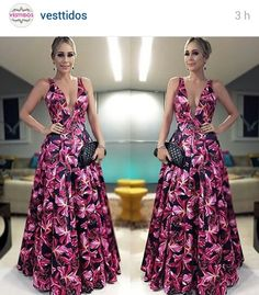 pink and black floral print long dress