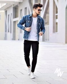 Simple casual outfit idea for teen boys 24 jacket style в 20 Simple Casual Outfits, Stylish Outfits, Men Casual, Fishermans Friend, Men With Street Style, Style Men, Men's Style, Denim Jacket Men, Herren Outfit