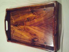 Hawaiian Koa wood serving tray - medium w/butterfly patches $350