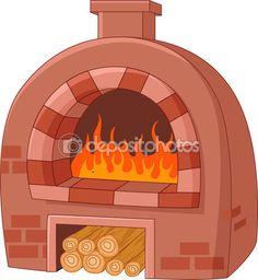 Ilustración de vector de horno tradicional de dibujos animados.