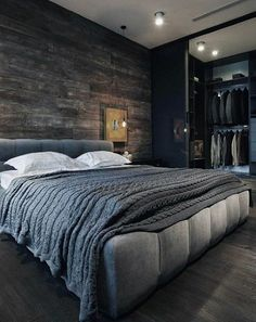 Modern Mens Bedroom Grey With Dark Wood Walls And Flooring decor bedroom grey 80 Bachelor Pad Men's Bedroom Ideas - Manly Interior Design Master Bedroom Design, Home Decor Bedroom, Bedroom Designs, Bedroom Furniture, Bedroom Wall, Masculine Master Bedroom, Master Bedrooms, Bedroom Simple, Furniture Ideas