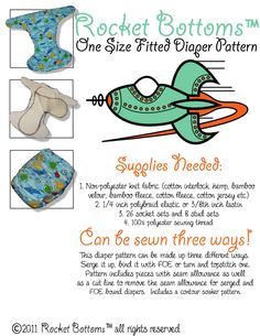 Might make these and use Fattycakes as a cover? PDF Cloth Diaper Sewing Pattern - Rocket Bottoms OS Fitted Cloth Diaper. $5.00, via Etsy.