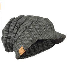 Men Thick Knit Cap Beanie Hat Fleece Lined GreenL098  fashion  clothing   shoes   e5f4d71a2d38