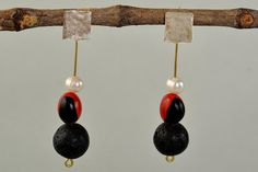Black and red earrings long studs red nut by ColorLatinoJewelry