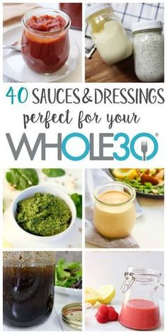 Eating clean or doing a doesn't have to be boring, especially when you can add homemade sauces and dressings! These Paleo and dairy free sauces and dressings are easy to make yourself, is part of Whole 30 sauces - Whole 30 Meal Plan, Whole 30 Diet, Paleo Whole 30, Whole 30 Recipes, Whole 30 Meals, Whole 30 Mayo Recipe, Whole 30 Lunch, Whole 30 Costco, Whole 30 Vegetarian