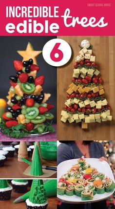 6 Incredible Edible Trees! DIY Christmas trees made with food that you can actually EAT! I love that sugar cone idea....