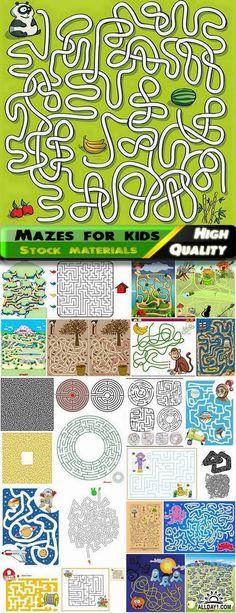 Illustration mazes for kids educational games 2 - 25 Eps