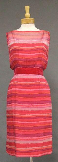 Vintageous, LLC - Howard Greer Striped Silk 1960's Cocktail Dress, $315.00 (http://www.vintageous.com/howard-greer-striped-silk-1960s-cocktail-dress/)