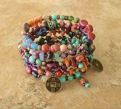 Boho Bracelet Global Chic  Art Jewelry Layered by BohoStyleMe