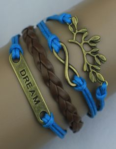 Branch, Infinity, Dream Wrap Bracelet – Blue/Brown  $15.00  Fashion Jewelry at Modest Prices - www.gomodestly.com