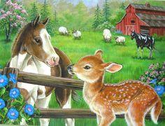 Ravensburger - New Neighbors - 60 Piece Kids Jigsaw Puzzle Illustration Mignonne, Cute Illustration, Farm Animals, Animals And Pets, Cute Animals, Cross Paintings, Animal Paintings, Animal Pictures, Cute Pictures