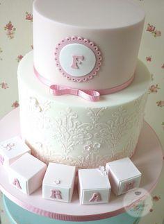 Stencil christening cake