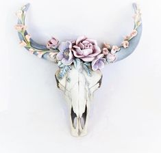 Made and dispatched from Australia. Soft, pastel resin flowers and leaves cascade over the skull of this faux resin bovine. Would fit beautifully in a boho styled room or nursery. Keyhole attachment on the back Measurements: x x x Cow Skull Tattoos, Tribal Tattoos, Small Skull Tattoo, Skull Tattoo Flowers, Skull Tattoo Design, Flower Skull, Cow Skull Decor, Cow Skull Art, Cow Decor
