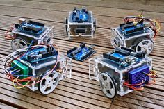 Minimalist 2-wheeled robot, built for MakeThings event in Vienna. It uses Arduino Uno and 2 servo motors, powered up by 4 AA batteries and senses world with infrared distance sensor.