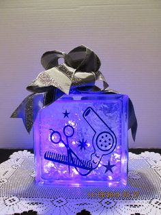 Purple Hair Stylist on frosted glass block with by Originalsbysuej