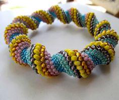 Cellini Bracelet Cellini Spiral Rope Toho Beads by StudioGianna