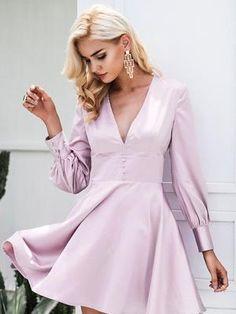 V Neck Satin Long Sleeve Dress  $28.78 Online Fashion Stores, Affordable Fashion, Cute Dresses, Chiffon, Bodysuit, Satin, V Neck, Long Sleeve, Skirts