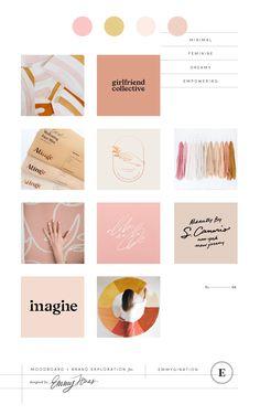 x Emmygination Brand Refresh ~ Blush Moodboard, Branding, Design, Graphic Design. Layout Design, Logo Design, Graphic Design Branding, Pink Design, Brand Design, Design Art, Brand Identity Design, Modern Graphic Design, Brochure Design