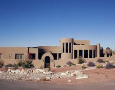 Another Santa Fe style home. No grass? No problem.