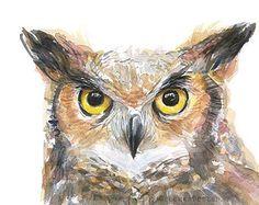 ORIGINAL Aquarell von Virginia-Uhu Vogel 9 x 12 von OlechkaDesign