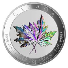 One-Kilogram Fine Silver Hologram Coin - Maple Leaf Forever - Mintage: 500 Canadian Maple Leaf, Canadian Coins, Silver Maple Leaf, Coin Art, Gold Money, Coin Jewelry, Rare Coins, Coin Collecting, Hologram