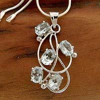 Topaz pendant necklace, 'Blue Quintet' by NOVICA
