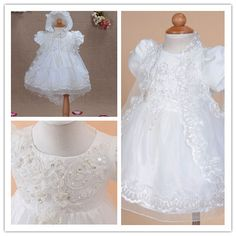 New Christening Gown Party Flower Girl Dress in White,Ivory,H Pink 3-18 Months
