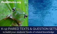 K-12 Paired Texts & Question Sets | ReadWorks.org | The Solution to Reading Comprehension